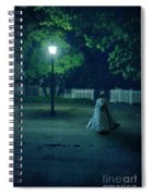 Lady In Vintage Clothing Walking By Lamplight Spiral Notebook