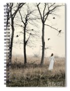 Lady In White In Autumn Landscape Spiral Notebook