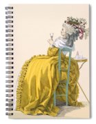 Lady Reclines On Chair Drinking Spiral Notebook