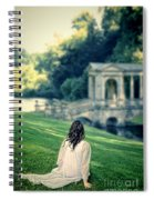 Lady Sitting On A Hill Above A Lake Spiral Notebook