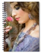 Lady With Pink Rose Spiral Notebook