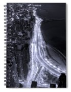 Lake Shore Drive Aerial  B And  W Spiral Notebook