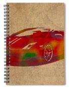 Lamborghini Gallardo 2013 Classic Sports Car Watercolor On Worn Distressed Canvas Spiral Notebook