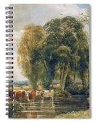 Landscape Cattle In A Stream With Sluice Gate Spiral Notebook