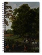 Landscape With A Courtly Procession Before Abtspoel Castle Spiral Notebook