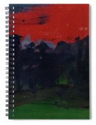 Landscape With A Red Sky Oil On Canvas Spiral Notebook