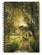 Landscape With A Sunlit Stream Spiral Notebook
