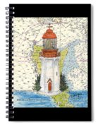 Langara Pt Lighthouse Bc Canada Nautical Chart Map Art Spiral Notebook