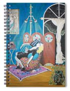 Languid Lady In A Chair Brooding Over Poetry Spiral Notebook