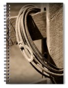 Lasso On Fence Post Rustic Spiral Notebook