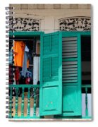 Laundry Hanging Seen Through Open Wood Shutter Windows Singapore Spiral Notebook