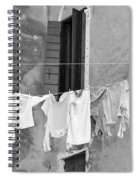 Laundry I Black And White Venice Italy Spiral Notebook