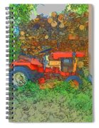 Lawn Tractor And Wood Pile Spiral Notebook