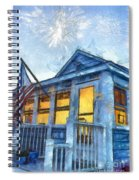 Lazy Daze Beach Cottage Pencil Sketch Spiral Notebook
