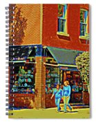 Le Fouvrac Foods Chocolates And Coffee Shop Corner Garnier And Laurier Montreal Street Scene Spiral Notebook