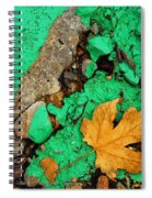 Leaf On Green Cement Spiral Notebook