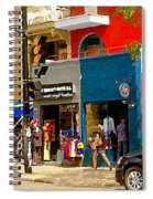Leather Garments Cuir Monde Mont Royal Scala Pour Hommes Busy Montreal City Scene Carole Spandau  Spiral Notebook