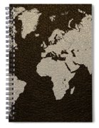Leather Texture Map Of The World Spiral Notebook