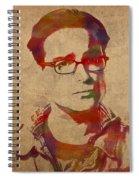 Leonard Hofstadter Watercolor Portrait Big Bang Theory On Distressed Worn Canvas Spiral Notebook