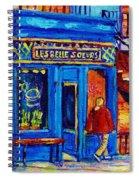 Les Belles Soeurs  Montreal Restaurant Plateau Mont Royal Painting By Carole Spandau Spiral Notebook