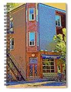 Les Saveurs Cafe Resto Grillades Tapas Petit Dejeuner Montreal French Cafe City Scene Carole Spandau Spiral Notebook