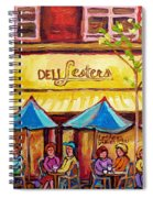 Lester's Deli Montreal Smoked Meat Paris Style French Cafe Paintings Carole Spandau Spiral Notebook