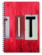 Let It Be License Plate Letter Vintage Phrase Word Artwork On Red Wood Spiral Notebook
