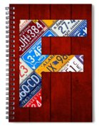 Letter F Alphabet Vintage License Plate Art Spiral Notebook