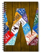Letter W Alphabet Vintage License Plate Art Spiral Notebook