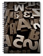 Letters And Numbers Sepia 2 Spiral Notebook