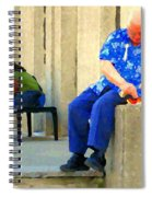 L'homme Orange Quiet Corner On St Catherine Street Downtown Montreal City Scene Carole Spandau Spiral Notebook