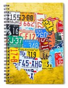 License Plate Art Map Of The United States On Yellow Board Spiral Notebook