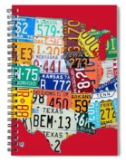 License Plate Map Of The United States On Bright Red Spiral Notebook