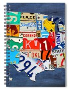 License Plate Map Of The United States - Small On Blue Spiral Notebook