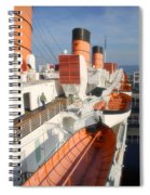 Life Boats 01 Queen Mary Ocean Liner Port Long Beach Ca Spiral Notebook