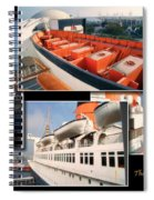 Life Boats Collage Queen Mary Ocean Liner Long Beach Ca Spiral Notebook