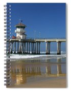 Life Guard Station Reflection On Ocean Sand At Huntington Beach City Pier Fine Art Photography Print Spiral Notebook