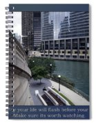 Life Will Flash Before Your Eyes Blue Background Spiral Notebook