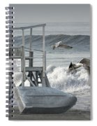 Lifeguard Station With Flying Gulls At A Lake Huron Beach Spiral Notebook