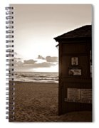 Lifeguard Tower Sunrise In Sepia Spiral Notebook