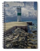 Lighthead At The End Of The Pier In Pentwater Michigan Spiral Notebook