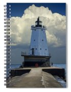 Lighthouse At The End Of The Pier In Ludington Michigan Spiral Notebook