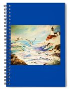 Lighthouse Gulls And Waves Spiral Notebook
