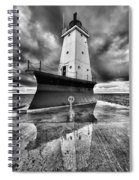 Lighthouse Reflection Black And White Spiral Notebook
