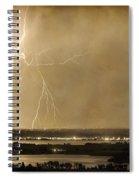 Lightning Strike Boulder Reservoir And Coot Lake Sepia 2 Spiral Notebook