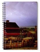 Lightning Strikes Over The Farm Spiral Notebook