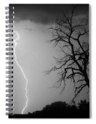 Lightning Tree Silhouette Black And White Spiral Notebook