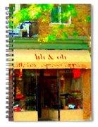 Lili And Oli Latte Espresso Cappucino Coffee Shop Rue Notre Dame St Henri City Scene Carole Spandau Spiral Notebook