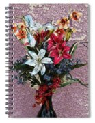 Lilies And Orchids Digitized Purple Spiral Notebook