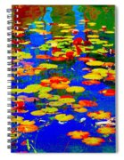 Lily Pads And Koi  Pond Waterlilies Summer Gardens Beautiful Blue Waters Quebec Art Carole Spandau  Spiral Notebook
